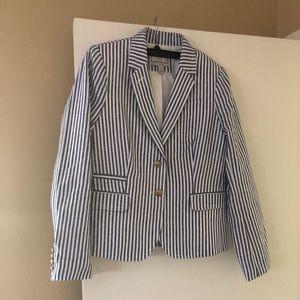 J. Crew blue and white striped blazer